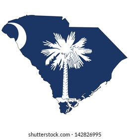 South Carolina map with the flag inside.
