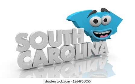 South Carolina SC State Map Cartoon Face Word 3d Illustration