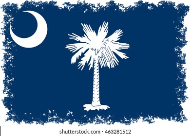 South Carolina State flag, authentic color and scale with distressed edges