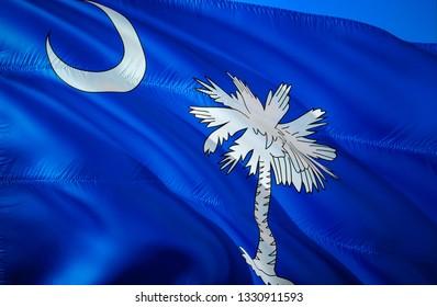 South Carolina state flag. SC flag 3D Waving American United States flag design. Symbol of South Carolina and Columbia, 3D rendering. South Carolina Waving state flag concept.Waving US American state