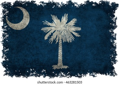 South Carolina State flag with vintage distressed textures and edges