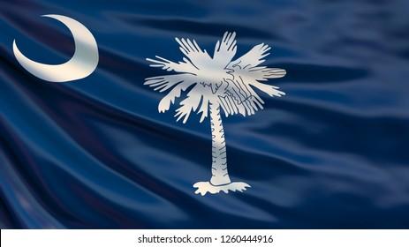 South Carolina  state flag. Waving flag of South Carolina state, United States of America. 3D Illustration