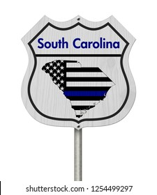South Carolina Thin Blue Line Highway Sign, South Carolina map with thin blue line flag on a highway sign isolated over white 3D Illustration