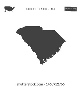 South Carolina US State Blank Map Isolated on White Background. High-Detailed Black Silhouette Map of South Carolina.