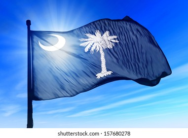 South Carolina (USA) flag waving on the wind