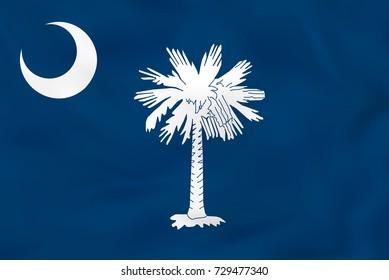 South Carolina waving flag. South Carolina state flag background texture. Raster copy.
