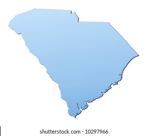 South Carolina(USA) map filled with light blue gradient. High resolution. Mercator projection.