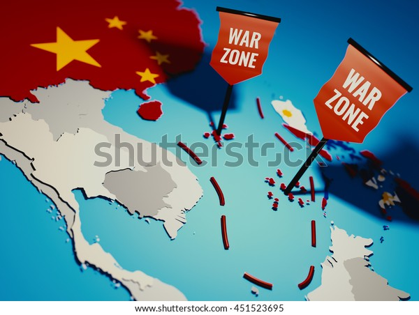 South China Sea conflict between China and Philippines over Spratly Islands and Paracel islands - 3D illustration for newspaper teasers.