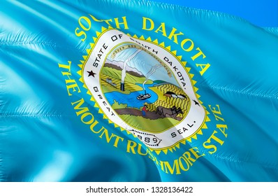 South Dakota flag. 3D Waving USA state flag design. The national US symbol of South Dakota state, 3D rendering. National colors and National flag of South Dakota for a background. American state flag