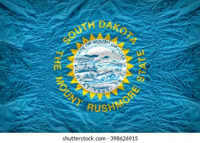 South Dakota flag pattern overlay on floyd of candy shell, vintage border style