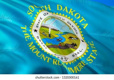 South Dakota flag state. 3D Waving flag design. US state flags of South Dakota and Pierre, 3D rendering. The national emblem of South Dakota background wallpaper. 3D ribbon, wallpaper, background