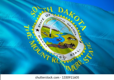 South Dakota state flag. 3D Waving American United States flag design. Symbol of South Dakota and Pierre, 3D rendering. South Dakota Waving state flag concept.Waving US American state flags