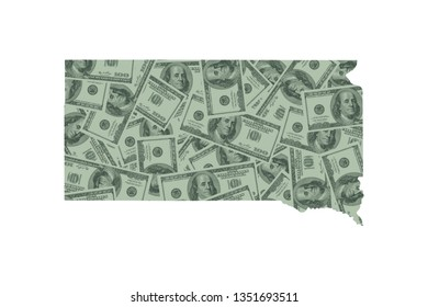 South Dakota State Map and Money Concept, Hundred Dollar Bills