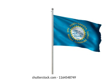 South Dakota state of United States of America flag waving isolated on white background realistic 3d illustration