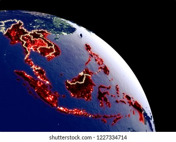 South East Asia at night from orbit. Plastic planet surface with visible city lights. 3D illustration. Elements of this image furnished by NASA.