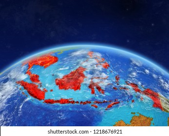 South East Asia on planet Earth with country borders and highly detailed planet surface and clouds. 3D illustration. Elements of this image furnished by NASA.