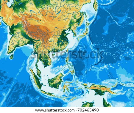 South East Asia Physical Map Elements Stock Illustration 702465490 ...