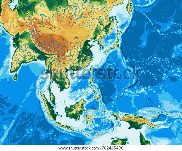 South East Asia Physical Map Elements Stock Illustration ...