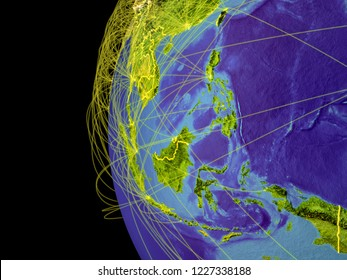 South East Asia from space on planet Earth with lines representing global communication, travel, connections. 3D illustration. Elements of this image furnished by NASA.