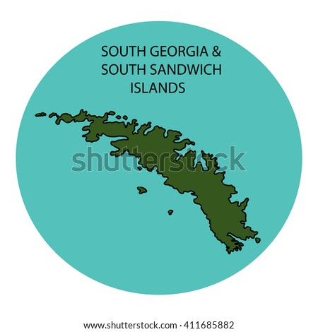 Map Of Georgia Islands.South Georgia South Sandwich Islands Map Stock Illustration