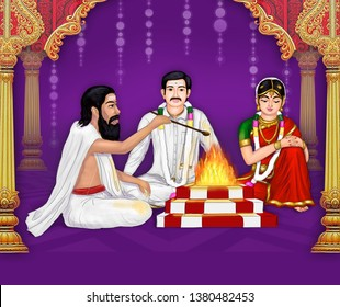 South Indian Wedding – Image of a South Indian groom and a shy bride sitting on the wedding platform, along with the priest building the holy fire for the marriage ceremony