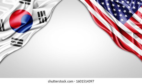 south korea and American flag of silk with copyspace for your text or images and white background -3D illustration