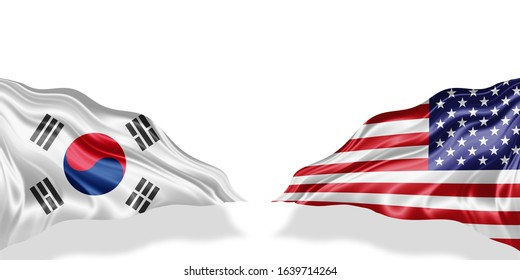 south korea and American flag of silk with copyspace for your text or images and white background