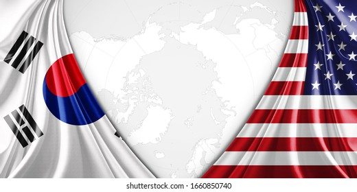 south korea and American flag of silk with copyspace for your text or images and world map background-3D illustration