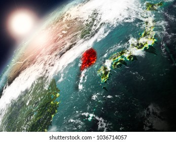 South Korea during sunset highlighted in red on planet Earth with clouds and visible country borders. 3D illustration. Elements of this image furnished by NASA.
