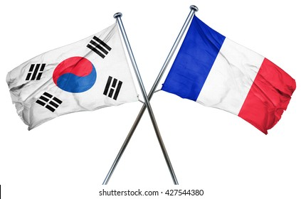 South korea flag  combined with france flag