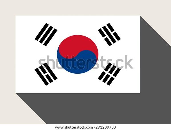 South Korea Flag Flat Web Design Stock Illustration 291289733