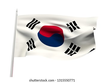 South Korea flag floating in the wind with a White sky background. 3D illustration.