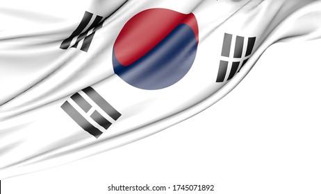 South korea flag isolated on white background, 3D illustration