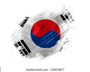 The South Korea flag  painted with brush on white background