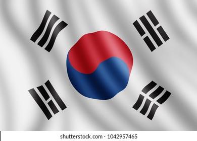 South Korea flag, Realistic illustration