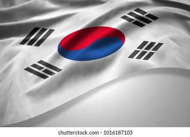 south korea  flag of silk with copyspace for your text or images and white background -3D illustration