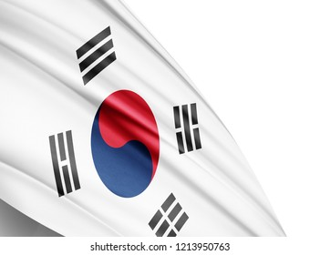 south korea   flag of silk with copyspace for your text or images and white background-3D illustration