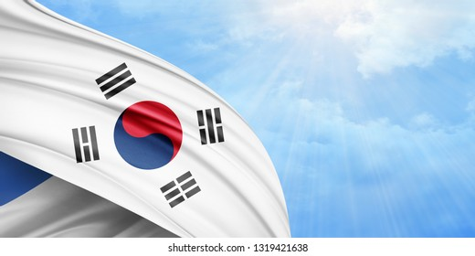 south korea flag of silk with copyspace for your text or images and sky background-3D illustration