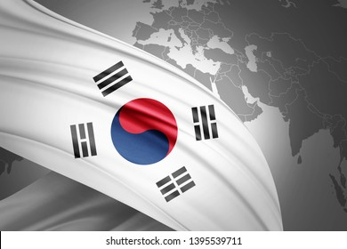south korea flag of silk with copyspace for your text or images and world map background-3D illustration