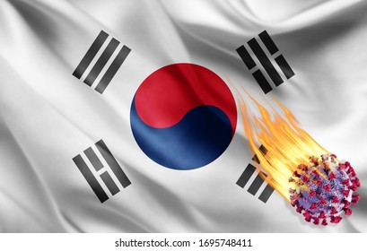 south korea flag of silk with Covid-19 Coronavirus and fire flames -3D illustration