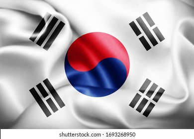 south korea flag of silk-3D illustration