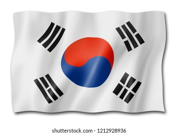 South Korea flag, three dimensional render, isolated on white