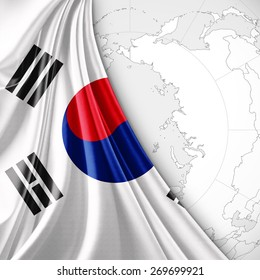 south korea flag and world map background
