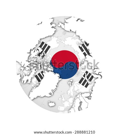South Korea In World Map.South Korea Flag World Map White Stock Illustration Royalty Free