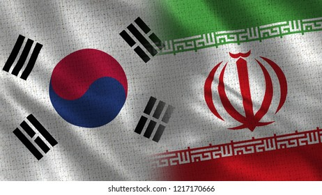 South Korea and Iran - 3D illustration Two Flag Together - Fabric Texture