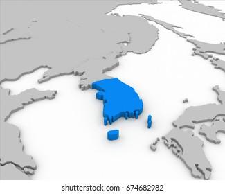 south korea map 3D rendering