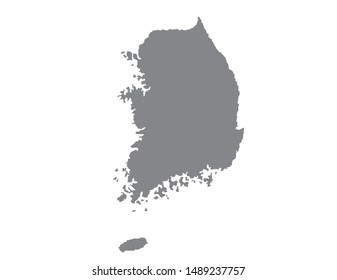 South Korea map in black on a white background,illustration,textured , Symbols of South Korea