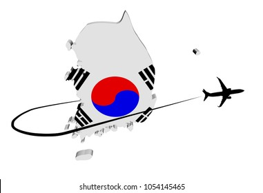 South Korea map flag with plane silhouette and swoosh 3d illustration