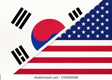 South Korea or ROK and United States of America or USA, symbol of two national flags from textile. Relationship, partnership and championship between American and Asian countries.