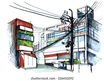 South Korea, Seoul. Outdoor urbane sketch, marker hand city illustration.